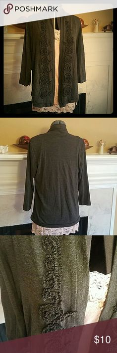 Delicate open-front top Dark grey, 3/4 sleeve cardigan. Rayon-poly, but feels more like t-shirt material than sweater material. Beautiful ruffled rosette design down both sides of the opening.  Perfect for the office or going out. forever fashion Sweaters Cardigans