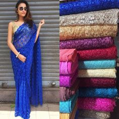 """Lace net saree now available in more beautiful colours To purchase mail us at… Kurta Designs, Saree Blouse Designs, Lace Saree, Net Saree, Simple Sarees, Trendy Sarees, Indian Dresses, Indian Outfits, Indische Sarees"
