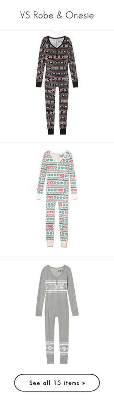 """VS Robe & Onesie"" by jessicagrewal ❤ liked on Polyvore featuring intimates, sleepwear, pajamas, green, pink sleepwear, long sleepwear, thermal sleepwear, robe, black and thermal pajamas"