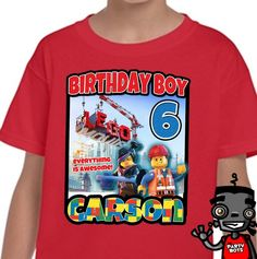 Custom Lego Movie Birthday Party Shirt | Personalized Gifts Like Shirts and Decals