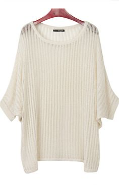 Beige Hollow Out Batwing Sleeve Loose Sweater