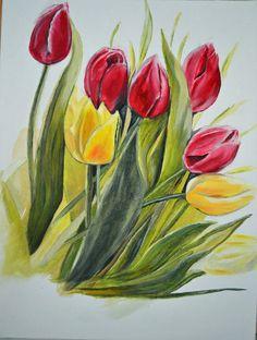Flower Painting 8 by DriedFlowersFarm on Etsy