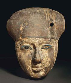 Egyptian wood mummy mask third intermediate period dynasty