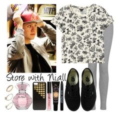 """Store with Niall"" by kay4nyr ❤ liked on Polyvore featuring Lipsy, MANGO, Vans, Monki, Too Faced Cosmetics, River Island and Steve Madden"