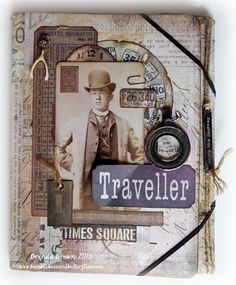 """Bumblebees and Butterflies: Tim Holtz Folio """"Traveller"""" for Country View Crafts using Tim Holtz, Ranger, Sizzix and Stamper's Anonymous products; Feb 2015"""