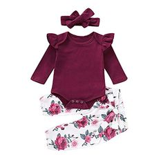 e0aceab8a Baby Girl Outfit Ruffles Short Sleeve Letter Print Romper Floral Pants  Legging with Cute Headband 3pcs