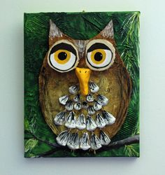 Mixed Media Owl: oh he is so cute! Did this with the kids Fall session 2012