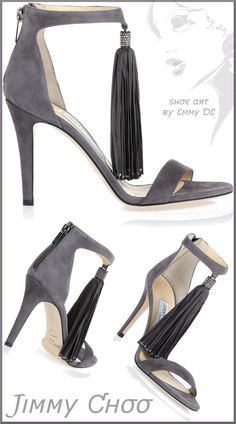 shoe art by Emmy DE * Jimmy Choo 'Viola' grey suede tassel sandal