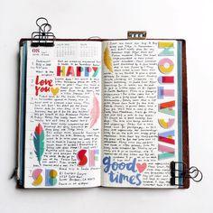 Lovely spread in a traveler's notebook by @mydocumentedlife in Instagram.