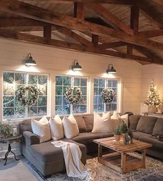 75 Majestic Rustic Farmhouse Living Room Decor Ideas – Best Home Decorating Ideas Home Living Room, Living Room Designs, Living Room Windows, Living Room Styles, Kitchen Living, Lamps For Living Room, Living Room Vaulted Ceiling, Cool Living Room Ideas, Christmas Living Room Decor