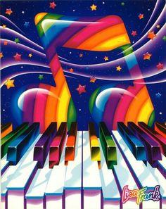 90's Lisa Frank Vibrant Rainbow Piano Music Folder ..... School Supply, Paper…