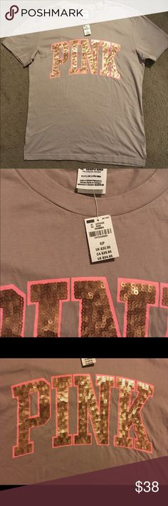 VS Pink Bling Campus Tee Brand New  Victoria's Secret Pink                        Bling Campus Tee Size Small PINK Victoria's Secret Tops Tees - Short Sleeve