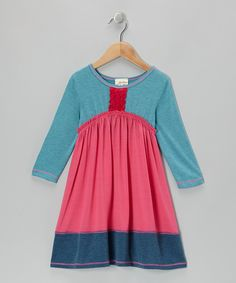 Take a look at this Fuchsia & Teal Ruffle-Placket Dress - Girls on zulily today!