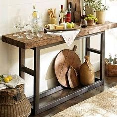 industrial farmhouse desk | Griffin Console Table | Pottery Barn - reclaimed, salvage, industrial ...