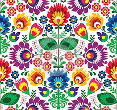 Seamless traditional floral polish pattern - ethnic background by Agnieszka Bernacka, via Dreamstime