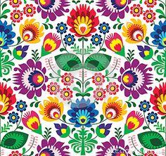 Seamless traditional floral polish pattern - ethnic background by Agnieszka Bernacka, via Dreamstime
