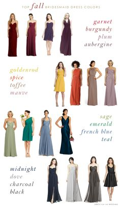 Fall wedding ideas: Top Colors for Fall Bridesmaid Dresses