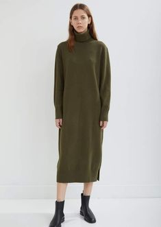 f5d0eb2fd8be Joseph Sally Soft Wool Dress Green Turtleneck