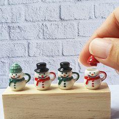 Christmas Fairy, Miniature Christmas, Christmas Toys, Christmas Snowman, Snowman Cup, Christmas Gift Decorations, Tiny Dolls, Hand Painted Ceramics, Miniature Dolls