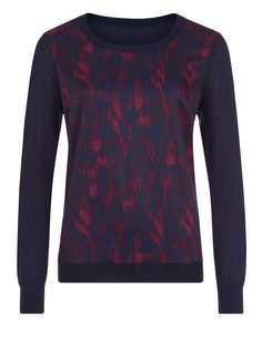 Planet Animal Print Navy & Maroon Jumper