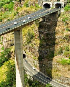 Funchal is the capital city of Portugal& Madeira archipelago - Beautiful Roads, Beautiful Places, Amazing Places, Dangerous Roads, Bridge Design, Covered Bridges, Civil Engineering, Tenerife, Amazing Architecture