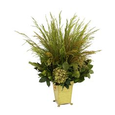Dried Greenery - Green Hydrangeas with Bell Grass and Salal in a Basil Tole Planter