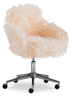 Desk Chair Comfy, Back Home, Lash Room, Pink Office, Value City Furniture, Home Office Chairs, Office Decor, Office Seating, Pink Faux Fur