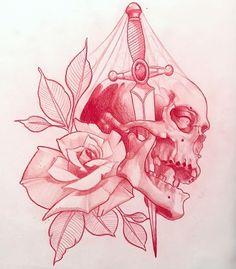 Resultado de imagen para neo traditional dagger rose