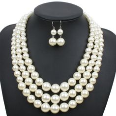 Buy Wedding Chain Multi-layer Tassel Pendant Imitation Pearl Necklace Earring Sets Pearl Jewelry Sets Ornament at Wish - Shopping Made Fun Multi Strand Pearl Necklace, Faux Pearl Necklace, Pearl Jewelry, Beaded Necklace, Necklaces, Women's Jewelry Sets, Women Jewelry, Cheap Fashion Jewelry, Fashion Earrings