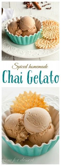 Spiced Homemade Chai Gelato - creamy and rich with your favorite Chai flavor