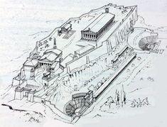LA CITTADELLA DEGLI DEI RICOSTRUZIONE ASSONOMETRICA DELL'ACROPOLI.  L'acropoli di Atene è il luogo consacrato più celebre del mondo antico.  E' il simbolo della civiltà greca e  la culla anche della nostra civiltà.  La collina dell'Acropoli  e il Partenone, il suo tempio più grande, dominano la città di Atene e costituiscono il cuore dell'Attica e di tutta la Grecia. #art #greca #grecia #acropoli #tempio #atena #history #storia