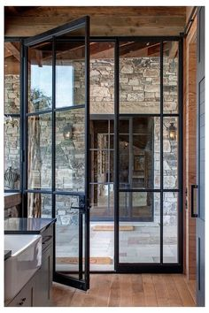 Crittall, French Doors Patio, French Windows, Exterior French Doors, Black French Doors, Steel Exterior Doors, Black Door, Black Windows, Modern Patio Doors