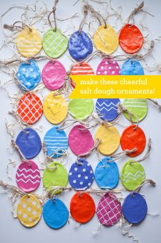Get cracking with Easter crafts for kids: Salt dough Easter egg ornaments from Design Mom. For the kiddos with egg allergies! Spring Crafts, Holiday Crafts, Salt Dough Ornaments, Homemade Ornaments, Diy Ornaments, Easter Tree, Easter Wreaths, Easter Bunny, Easter Activities