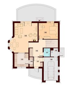 DOM.PL™ - Projekt domu DN Modena CE - DOM PC1-22 - gotowy koszt budowy Family House Plans, Dream House Plans, Small House Plans, Home Building Design, Building A House, Kerala House Design, Kerala Houses, Beautiful Home Designs, Red Roof
