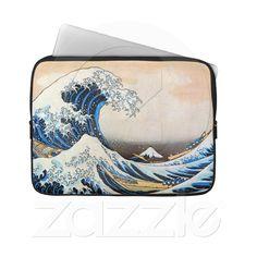 神奈川沖浪裏, 北斎 Great Wave, Hokusai, Ukiyo-e Laptop Computer Sleeves from Zazzle.com