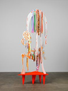 Aaron Curry Untitled, 2013, ink, silkscreen and spray paint on wood with painted aluminum base, 102 1/2 x 40 x 30 1/2 inches