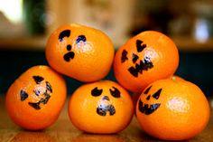 Fun easy Halloween snack: tangerine jack-o-lanterns