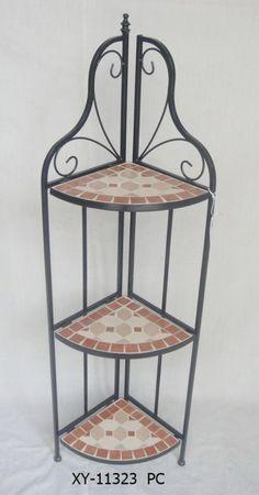 Basamento di fiore della pianta di giardino della mensola dell'angolo della cremagliera della mobilia del mosaico del metallo foto su it.Made-in-China.com
