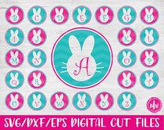 Bunny Monogram Initials Bundle, SVG, DXF, EPS, Cut Files, Easter, Alphabet, Vinyl, Vector, Silhouette, Cricut