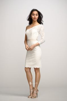 little white one shoulder lace cocktail dress with natural waistline slim skirt