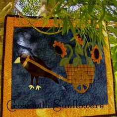 CROW With SUNFLOWERS & Cart Wall Art Quilt Home by TwoOldeYoYos, $15.00