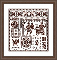 Retro cross stitch Composition of ornaments in a circle