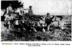 1937 Maryborough 3 inch trench mortar section in training at the annual brigade training at Emu Park. Military Personnel, Emu, Trench, Training, Park, Places, Movie Posters, Lugares, Film Poster