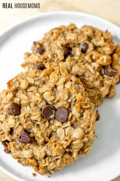 close up of two Chocolate Peanut Butter Banana Breakfast Cookies