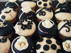Seriously wonderful graphic black and white fondant cupcakes. Fondant Cupcakes, Fancy Cupcakes, Wedding Cakes With Cupcakes, Baking Cupcakes, Yummy Cupcakes, Cupcake Cakes, Marshmallow Fondant, Cupcake Ideas, Tuxedo Cupcakes