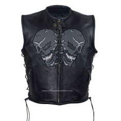 Mens Motorcycle skulls leather Vest