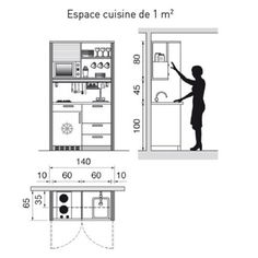 """The book """"La maison sur mesure"""" by Dominique Rabin at Éditions Le Moniteur is showing the best kitchen plans that will answer all dilemmas about arranging it. No matter of the size the design. Micro Kitchen, Big Kitchen, Kitchen Dinning, Office Interior Design, Kitchen Interior, Interior Design Living Room, Kitchen Design, Small American Kitchens, Mini Loft"""