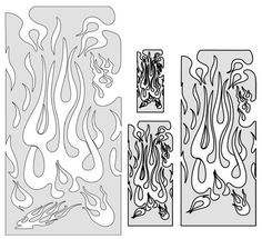 "Artool Freehand Airbrush Templates, Freehand Flame Master Set by Iwata-Medea. $29.51. Precision, laser-cut templates for highly detailed effects. Versatile extras on every template - old school flames, real curves, circles, bullet holes, rips and tears, broken glass. Three large (6"" x 10"") and three medium (5"" x 8"") templates per set. Save time cutting frisket or acetate masks, no software or plotters needed. Solvent Proof great with both solvent and water-based paints. From t..."