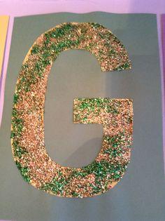 Green and gold glitter G craft - Preschool Craft - Letter of the Week Craft - Kids Craft