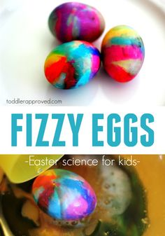 Toddler Approved!: Volcano Egg Dyeing! Quick tutorial to make volcano fizzy eggs! This Easter science experience is so great for toddlers, preschoolers, and older!